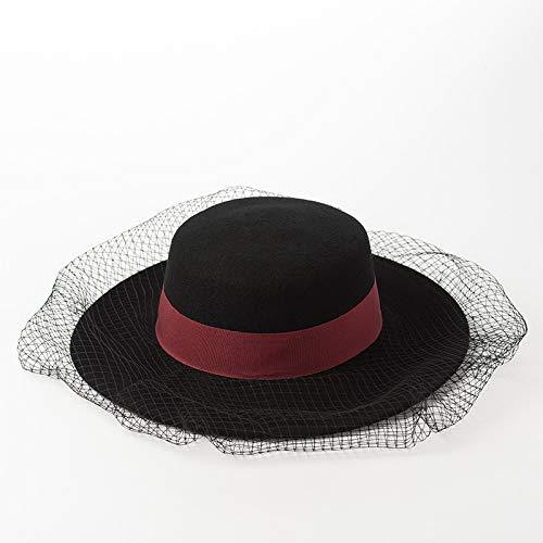 LANMISS Herbst Winter einfache Mode runde Flache Spitze Gnade Schleier schmücken breite hüte für - Werden Und Gnade Kostüm