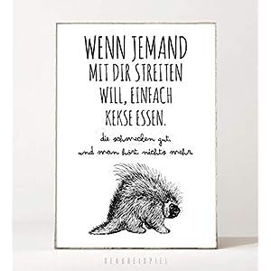 DIN A4 Kunstdruck Poster KEKSE -ungerahmt- Typografie, Schrift, Text, Spruch, Vintage, Bild, Arbeitsplatz, witzig