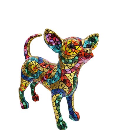 Chihuahua Figurine Multicolor in Mosaic of the Carnival Collection Designed with Style Trencadis of Antonio Gaudí