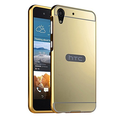 MACC Luxury Aluminium Bumper With Mirror Acrylic Back Cover For HTC Desire 728 dual sim - YELLOWGOLD