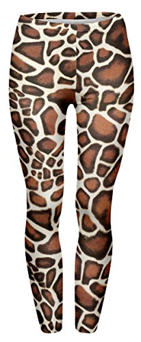 Ladies Giraffe Print Leggings - Standard Size. Ideal for 80s rock dress-up.