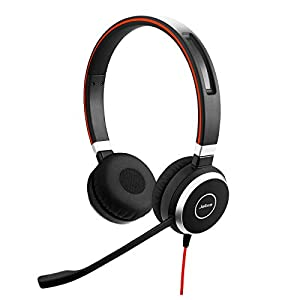 Jabra Evolve 40 MS Stereo Headset – Microsoft Certified Headphones for VoIP Softphone with Passive Noise Cancellation – USB-C Cable with Controller – Black