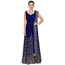 Aarna Fashion Women's Cotton Silk Anarkali Salwar Suit Set (Gorgeous Z_Blue_Free Size)