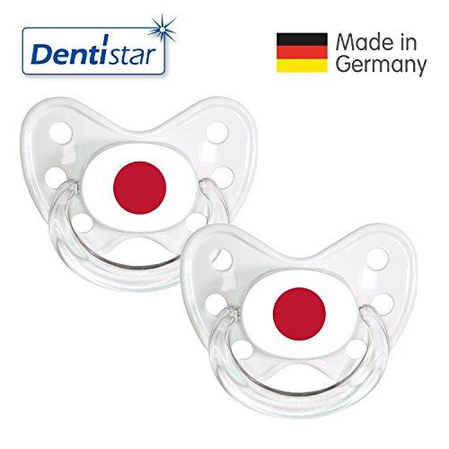 Preisvergleich Produktbild Dentistar® Silikon Schnuller 2er Set inkl. 2 Schutzkappen - Nuckel Größe 3, ab 14 Monate – Fahnen Fan Kollektion – Japan