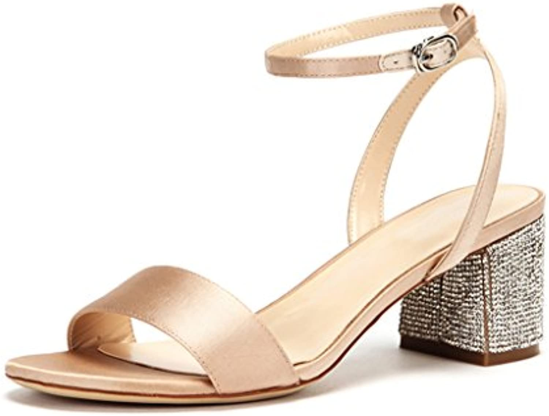 JIANXINliangxie Jianxin sandali sandali sandali donna sandalo col tacco alto elegante raso nero e albicocca spessa tacco estate... | Acquisti  | Sig/Sig Ra Scarpa  a8b1ae