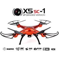Syma X5SC Upgraded New Version Syma X5SC-1 Falcon Drone HD 2.0MP Camera 4 Channel 2.4G Remote Control Quadcopter 6 Axis 3D Flip Fly UFO 360 Degree Eversion With 4GB SD Card