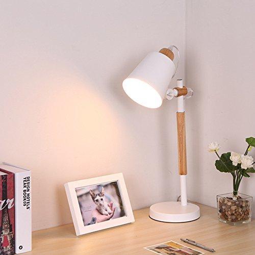 Skandinavische Holz Tischlampe Einstellbar Schmiedeeisen Schreibtischlampe Kind Leselicht Tischlampe, E27(Nicht enthalten) (Weiß)