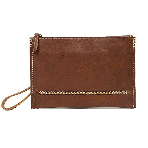 AOKE Echtes Leder Brieftasche Vintage Scheckheft Geldbörse Kreditkarte Münzen Halter schlanke Kupplung Handtasche Wristlet für Männer dunkelbraun Hellbraun
