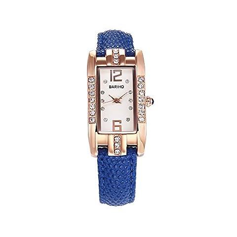 Hongboom Bleu véritable de bande de cuir montre bracelet étanche