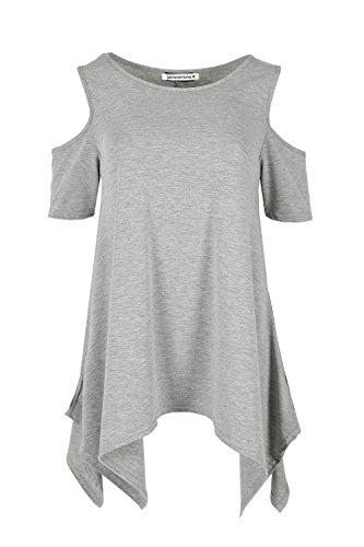 Janisramone - Débardeur - Uni - Manches Courtes - Femme * taille unique Gris