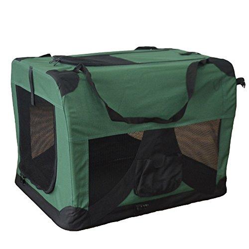 Hundetransportbox Hundebox faltbar Transportbox Autotransportbox Faltbox Transportasche 601-D03 Farbe: grün, Grösse: XL - 81cm x 58cm x 58cm