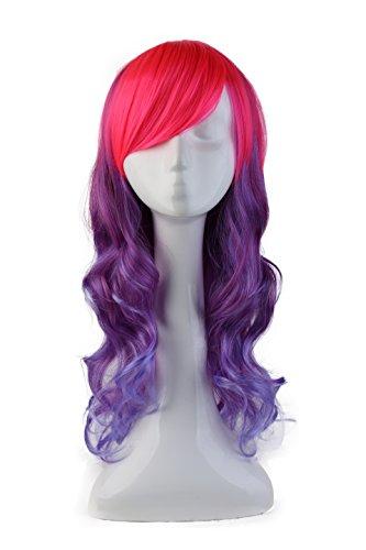 Parrucca cosplay rosa scuro ombre viola da donna - capelli sintetici lunghi mossi con frangia - wig anime 58cm 23