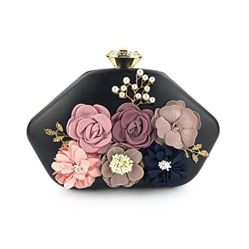 Nuanxin Hochwertige Handgemachte Blume Abend Kupplung, Fashion Party Gegner Tasche, Brieftasche, Hochzeit Abendessen Tasche, Exquisite Nähen U10 (Color : Black)