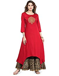 Varanga Red Viscose Gold Zari Embroidery Kurta KFF-VAR21121