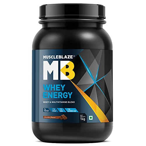 MuscleBlaze 100!% Whey Energy Protein Supplement Powder with Vitamins & Minerals, 1 kg 31 Servings (Chocolate)