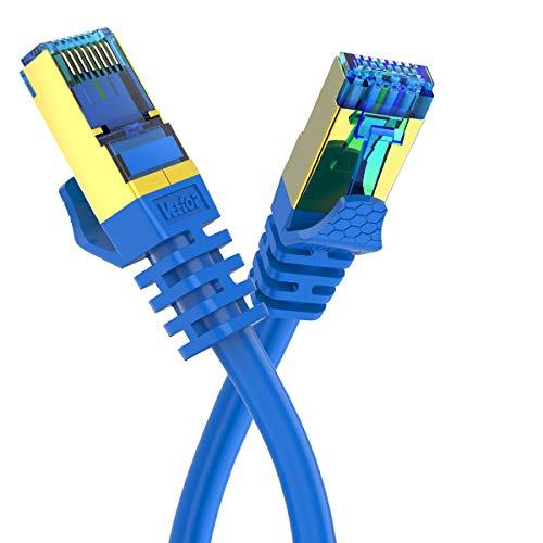 Veetop Cat8 Lankabel, 40Gbps Netzwerkkabel superschnell flexibel und robust mit vergoldetem RJ45 (2m blau x 2 Stück) Twisted-pair Video-Übertragung