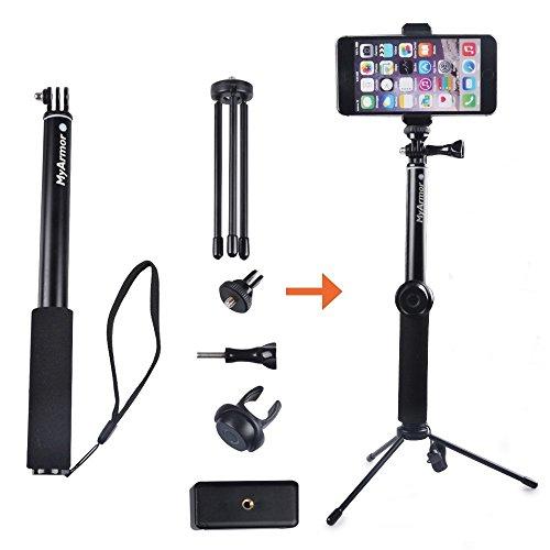 Racksoy Universal Slefie Stick, Teleskop Ausdehnbar (30-93cm) Selfie-Stange mit Handy Mount Clip + Mini Metal Stativ + Bluetooth-Auslöser Clip Fernbedienung für Gropro Hero 5, 4, 3, 3+ Serien/ Sony Nikon Canon SLR DSLR, RICOH THETA 360° / Action Camera SJCAM SJ4000 SJ5000 SJ6000 usw.