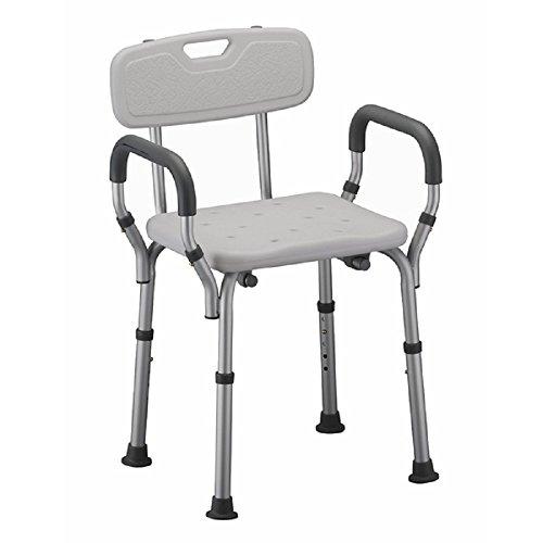 SAILUN Höhenverstellbar Medical Duschhocker Duschstuhl Duschhilfe Duschsitz Badsitz Duschhocker Aluminium & HDPE Anti-Rutsch mit Armlehne und Rückenlehne 37.5-50.5cm (Modell 2)