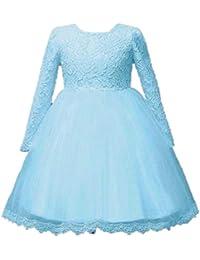 ❤️Elecenty Mädchen Prinzessin Kleid,Spitzenkleid Baby Solide Mesh ... cce49fb947