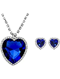 Shining Diva Fashion Blue Crystal Pendant Necklace Jewellery Set with Earrings for Women: Best Gifts for Girls