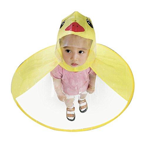 flyclore Jungen Mädchen tragbar wiederverwendbar Kinder UFO Cartoon Duck Form Regenmäntel Regenschirm Hat, gelb, M