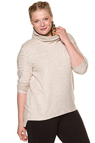 Ulla Popken Femme Grandes tailles | Pull col roulé asymétrique à motifs dorés et manches longues | 713398 Multicolore