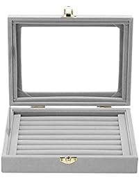 Awakingdemi Ring Display Box, Velvet Glass Jewelry Ring Display Box Tray Holder Storage Box Organizer Gray