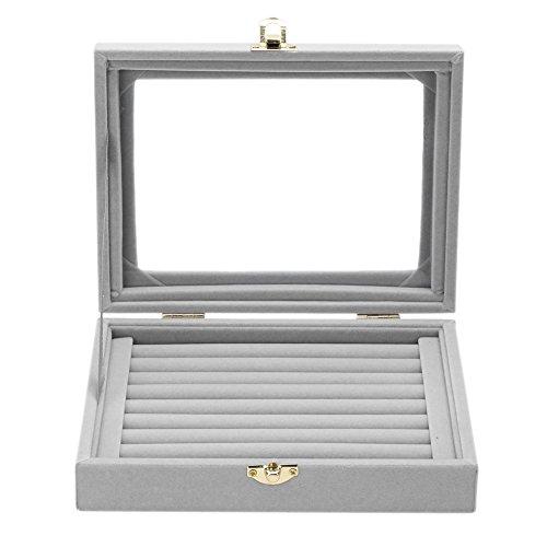 Demiawaking Flanell Glas Schmuck Ring Display Box Tray Halter Aufbewahrungsbox Veranstalter