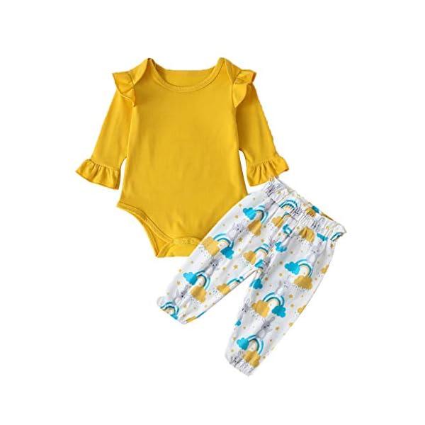 niñito niños Mono Infantil Bebé Niñas Mono sólido Mameluco + Dibujos Animados Conejos Pantalones Conjuntos de Conjuntos 1