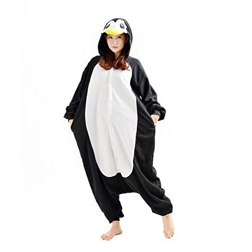 DarkCom Tier-Kostüm für Erwachsene Unisex-Modell Einteiler Jumpsuit ideal Pyjama oder Cosplay-Verkleidung Schwarz Pinguin