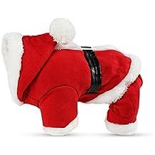 PETCUTE Trajes de Navidad para Mascotas Traje para Perros con Capuchón Camisetas de Santa Claus Gato