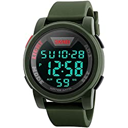 Qingmei Sport Watch Men Multifunction Digital Military Sports Watches Waterproof LED Electronics Silicone Strap Wristwatches Green