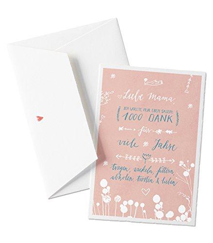 Liebe Mama, 1000 Dank - Glückwunschkarte für Mütter, Muttertagskarte oder allgemeine Grußkarte als Dankeschön, zum Muttertag oder Geburtstag, mit Herz - Umschlag