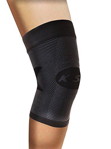 Orthosleeve rodillera compresión graduada KS7, Negro, talla L - 7 zonas de compresión - Alivia la tendinitis rotuliana - Reduce el dolor de rodilla - Reduce la inflamación