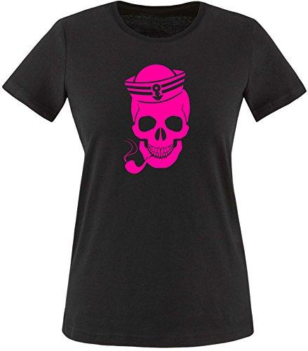 ezyshirt® Skipper Skull Damen Rundhals T-Shirt Schwarz/Neonpink