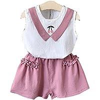 HK Camiseta de Verano para Niños Pantalones Cortos Traje de Dos Piezas,Rosado,90cm