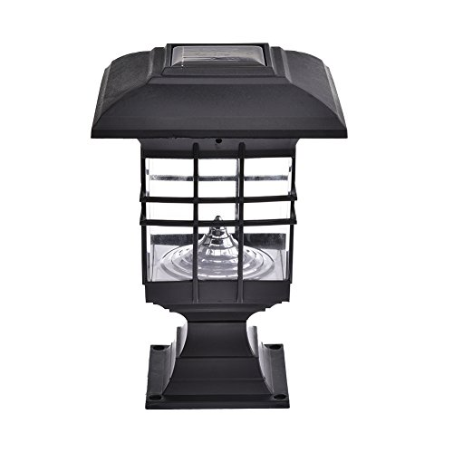 Solar Säule Lampe, wasserdicht Landschaft LED-Licht Sensor Post Cap Lights 30 Lumen für Park Garten Terrasse (Patio Lichter Post)