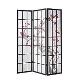 Homestyle4u 63, Paravent Raumteiler 3 teilig, Holz Schwarz, Reispapier Weiß, Kirschblüte