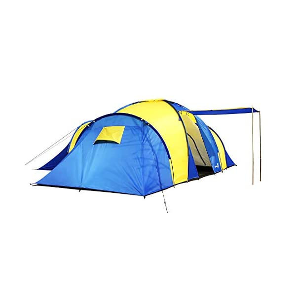 Peaktop 3 Bedrooms 1 Large Living Room 8 Persons Camping Tent Family Group Double Poles Hiking Beach Outdoor Tunnel Dome 3000mm Waterproof &UV Coated Bright Color 1 Year Warranty (5 Shapes) 3