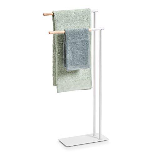 Zeller asciugamano supporto, in metallo/gomma albero, bianco