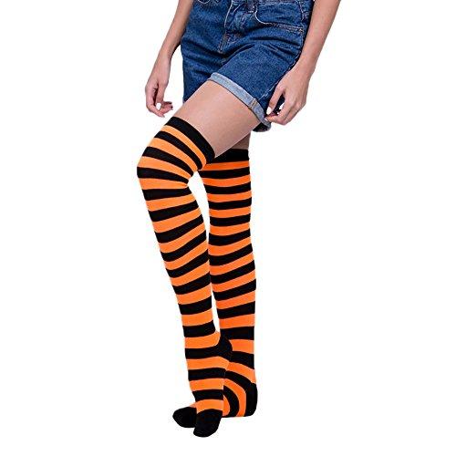 SuperSU Frauen Sexy Regenbogen Oberschenkel hoch über Dem Knie Socken Strümpfe Stockings Langer Über Kniestrümpfen Halloween Cosplay Zusätze für Karnevals Party Stützen Fußball Socks Clown Kostüm (H)