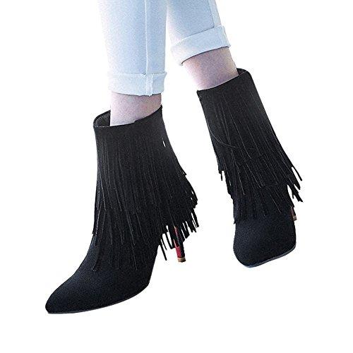 Mee Shoes Damen Quaste Stiletto spitz Nubukleder Stiefel Schwarz