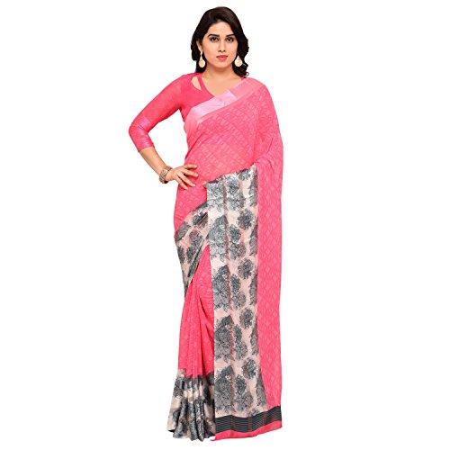 Vaamsi Satin Border Georgette Printed Saree (LEGACY1006_Pink_6.3 m length)