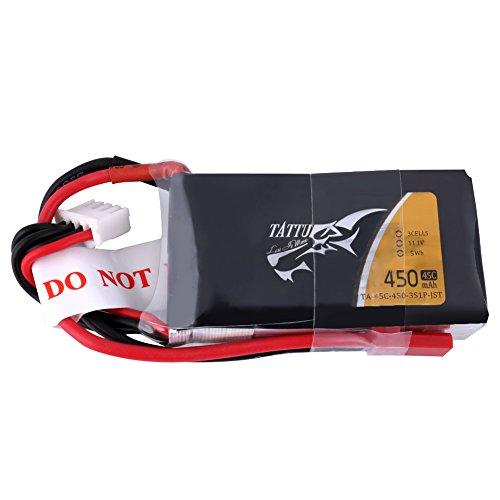 Tattu 450mAh 11.1V 3S1P LiPo Battery Pack 45C with JST Plug for Small Size FPV Blade Torre Preisvergleich