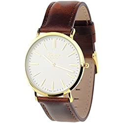 Men's Geneva Japanese Movement Stainless Steel Back Genuine Leather Strap Watch - Brown/White