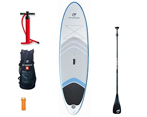 FIT OCEAN MAGIC GLIDE 10'8 AQUA BLAU/ WEISS Stand Up Paddle board inflatable + Doppelhub-Pumpe + 3-tlg. verstellbares SUP Paddle + gute Rücksack. iSUP 330x81x13cm Militärqualität, sehr steif / paddeln mit trockne Fusse