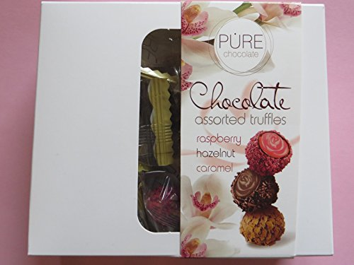 Pure Chocolate Assorted Truffles Raspberry, Hazelnut, Caramel 133g (Assorted Pralinen)