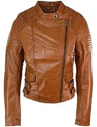 3fe6f2084b Blouson femme cuir véritable coupe courte cintrée style biker rock vintage  ...