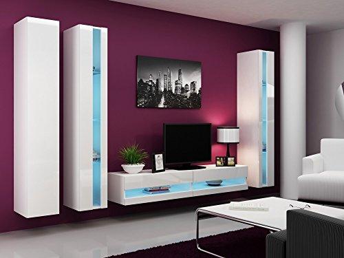 Wohnwand VIGO NEW6, Anbauwand, Wohnzimmer Möbel, Hochglanz !!! Mit LED Beleuchtung !!!
