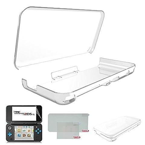 Hikfly Ultra Transparent Cristal TPU Coque pour Nintendo New 2DSXL / LL (2017 Release) avec HD PET Film Écran Protecteur (Transparent Blanc)